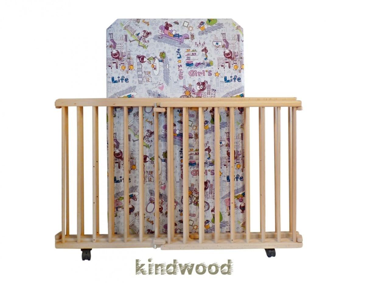 """Манеж Kindwood из натурального дерева - """"Мелодия"""" 135х80 см."""