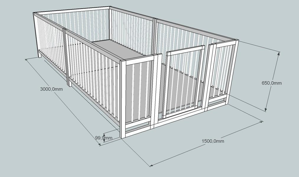 манеж 1.5х3х0.8 метра с дверкой